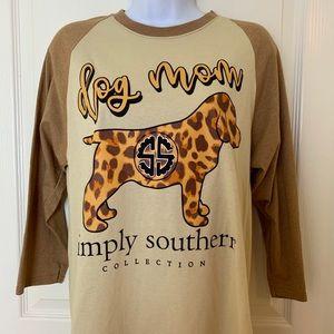 Simply Southern Dog Mom Raglan Sleeve Tee Shirt M